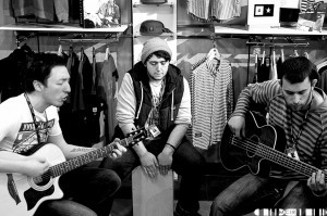 Silver Coast playing an acoustic set at Creative Skate earlier in the day
