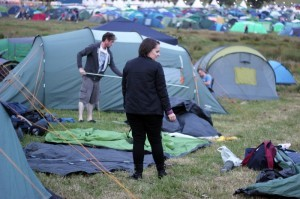 A busy campsite, particularly in the family section