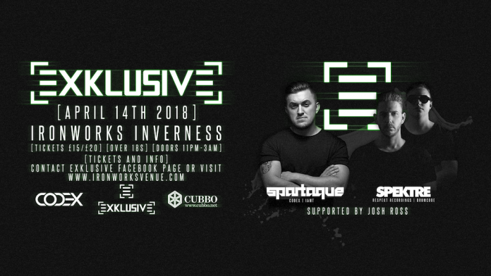 Exklusive featuring Spartaque and Spektre comes to Ironworks in April.