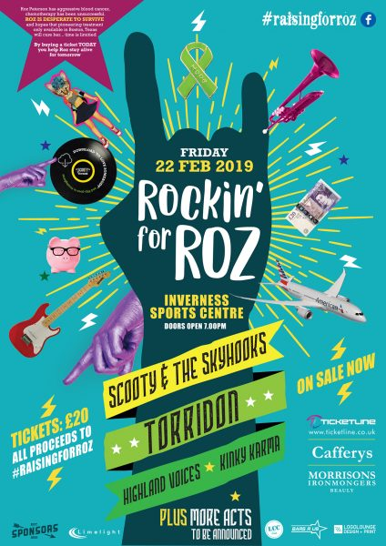 ROCKIN FOR ROZ A4 LOW RES POSTER 424x600 - Rockin For Roz gig for Inverness